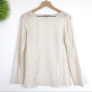 LOFT || Embroidered Lace Cream Boho Blouse S